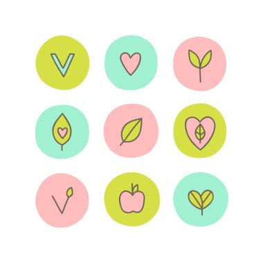 Set of vegan, natural, organic abstract icons. Can be used for packaging design. icon