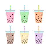 Sada různých kelímků s bubble tea