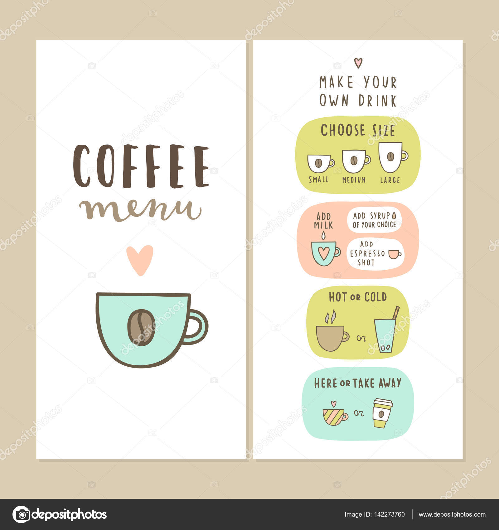 Coffee bar menu template stock vector kondratya 142273760 coffee bar menu template make your own drink can be used for your cafe design vector by kondratya maxwellsz