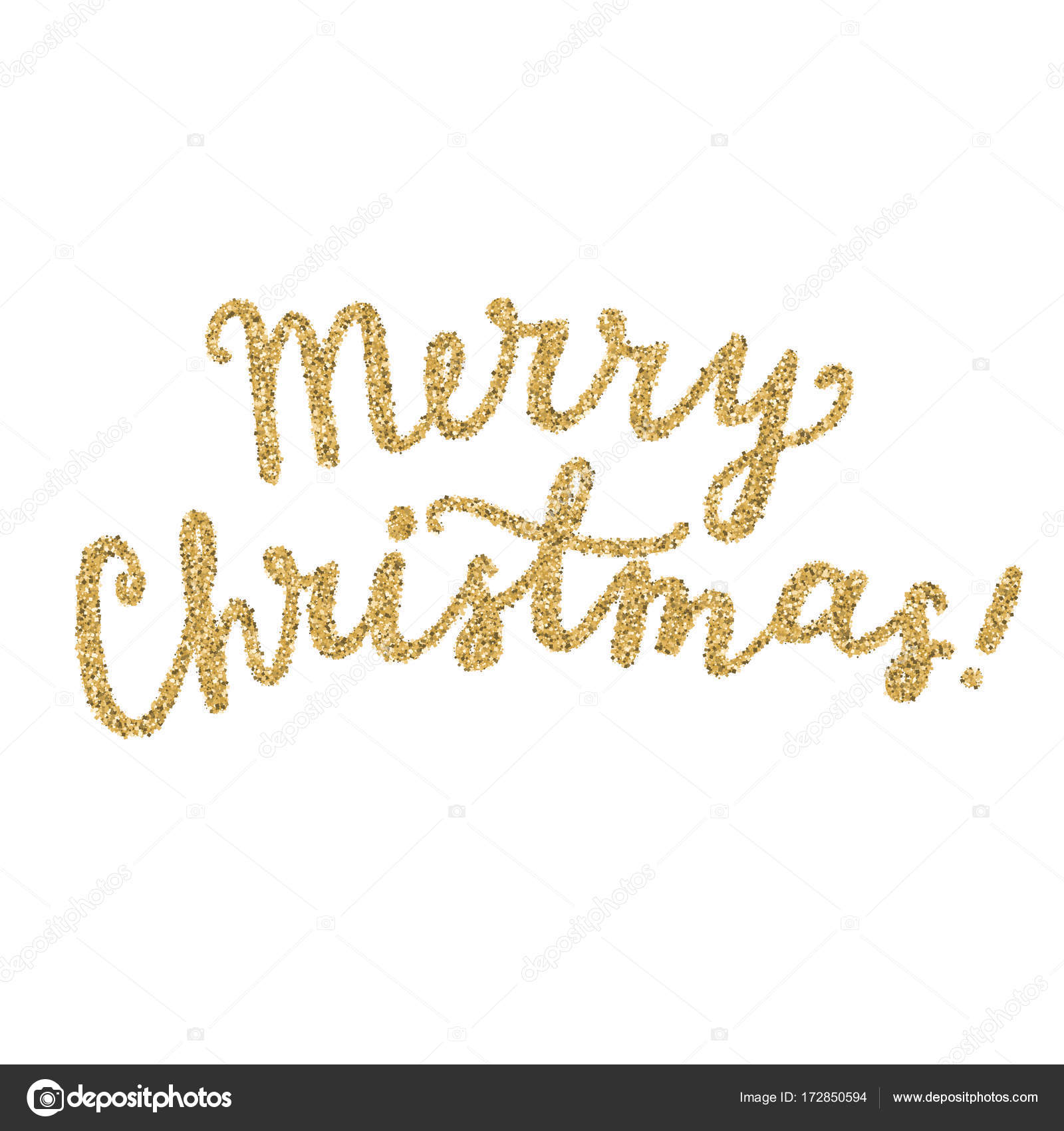 Christmas Calligraphy.Vector Merry Christmas Calligraphy Gold Glitter Stock