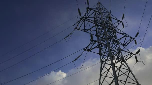 power line against the blue sky timelapse