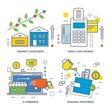Concept illustration - types of investments, e-commerce and credit payment card