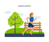 Concept - a healthy lifestyle, athletics, jogging on the street