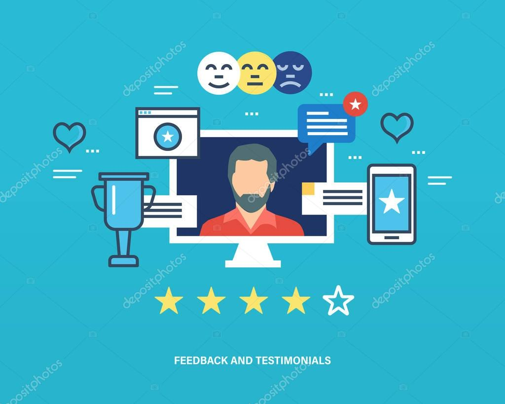 Concept of testimonials, feedback, reviews and raitings, favorites  communications.