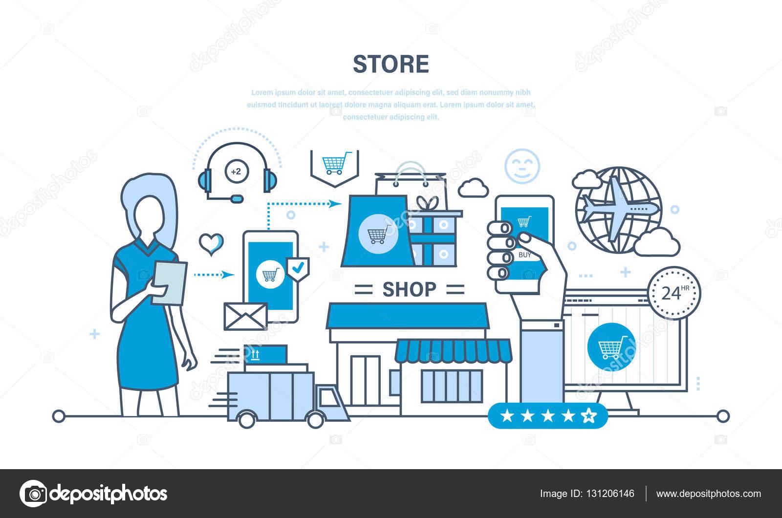 Speichern und Online-Kauf, Lieferung, technische Unterstützung ...