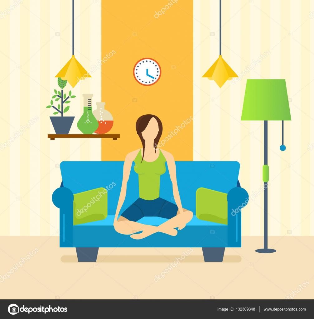 Yoga Interior De La Sala Muebles Para Descanso Tranquilidad  # Muebles Equilibrio