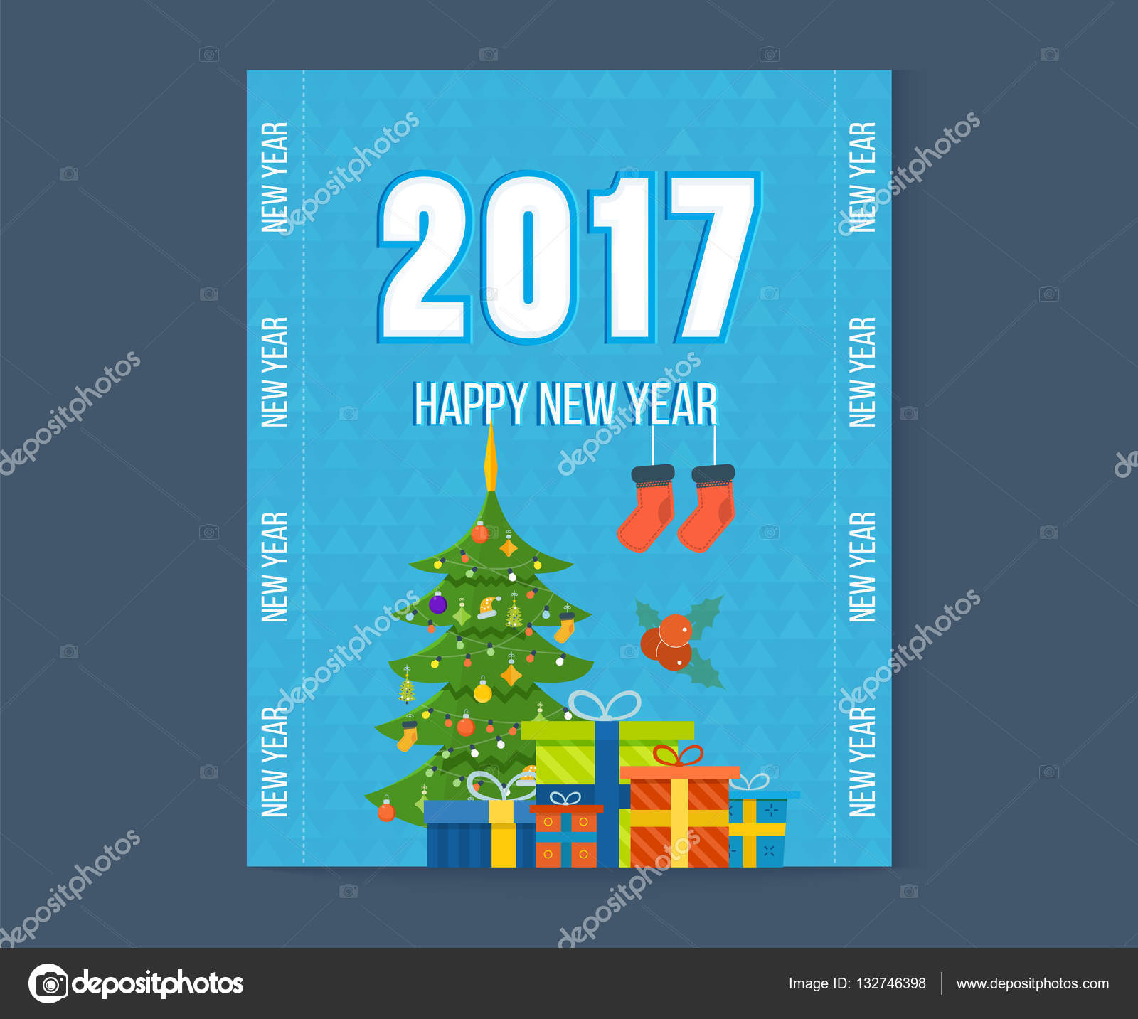 Merry Christmas Happy New Year Greetings Card With Winter
