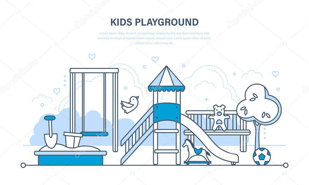 Childrens entertainment playground, benches, sandbox, swing, recreation park.