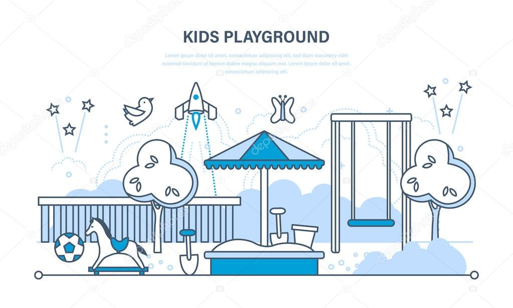 Childrens entertainment playground with a swings, toys, recreation park.