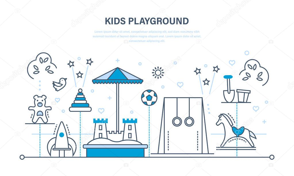 Childrens entertainment playground, benches, sandbox, swing, a recreation park.