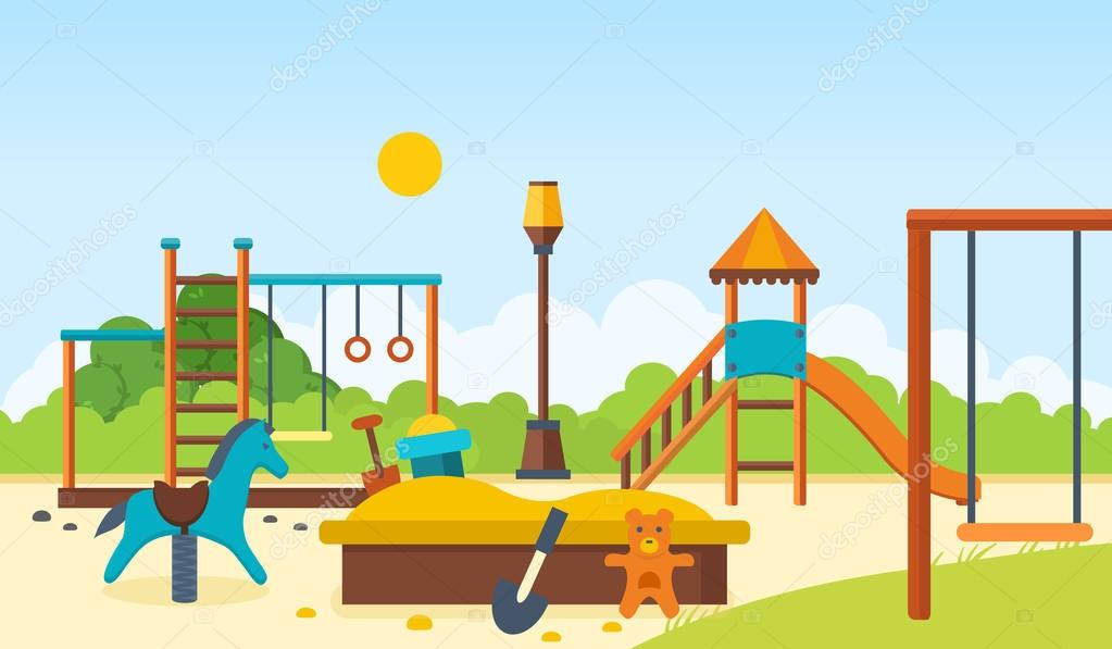Kids playground, horizontal bars and swings, walking park, childrens toys.