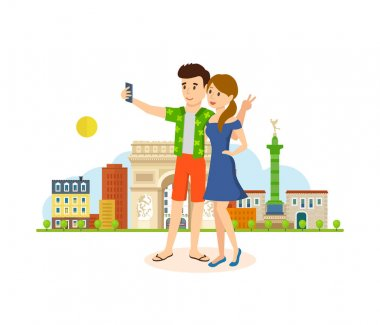 Couple in love, travel to Paris, make selfie on memory.