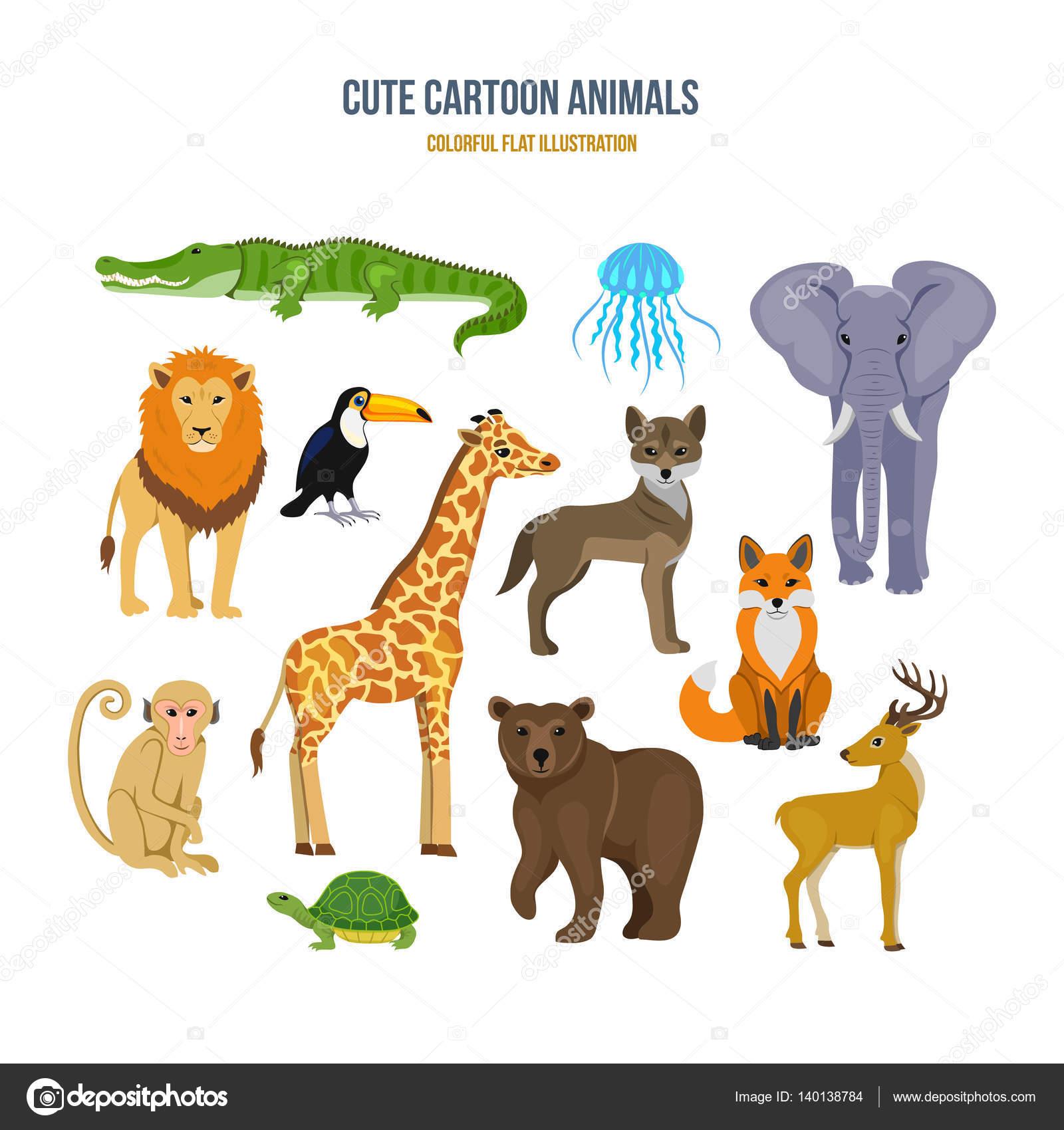 かわいいイラストのコンセプト設定漫画の動物 — ストックベクター