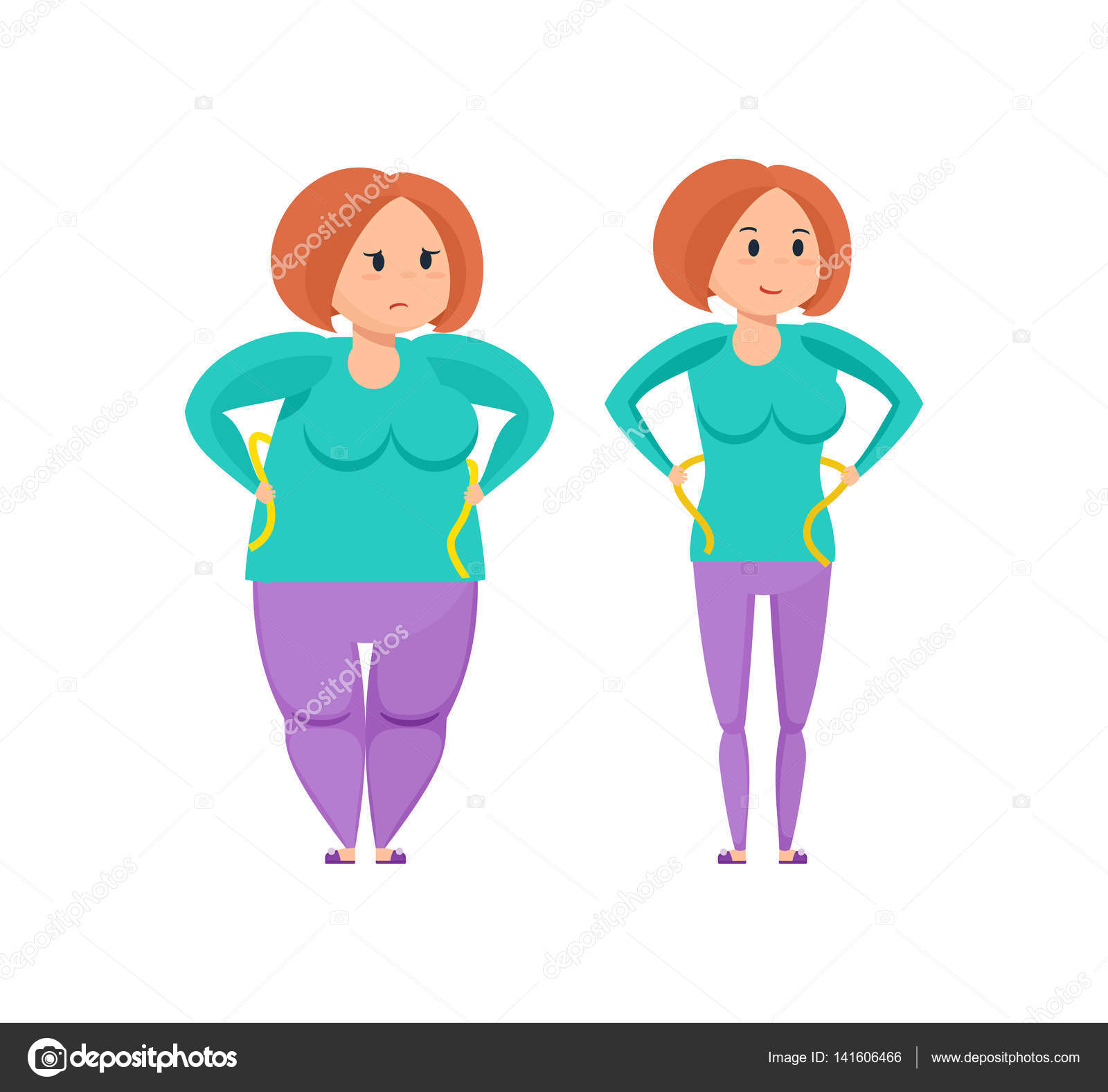 Before And After Weight Loss Stock Vector 141606466