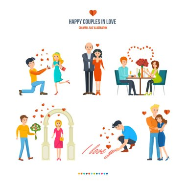 Concept illustration - happy couples in variety of settings and situations