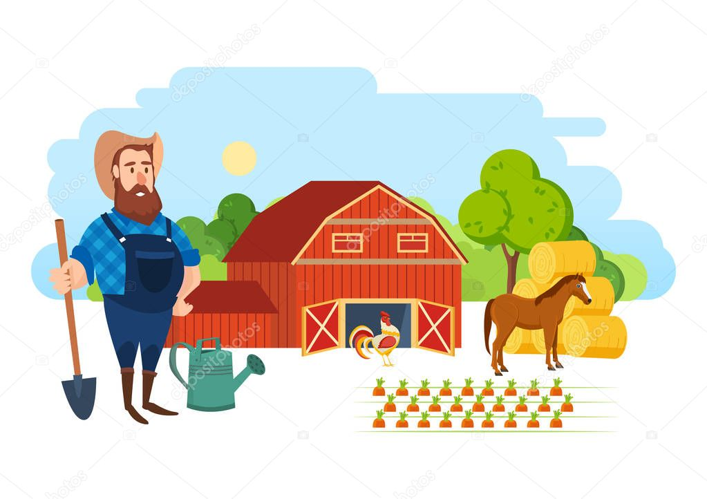 A farmer on his agricultural plot, is engaged in ennoblement.