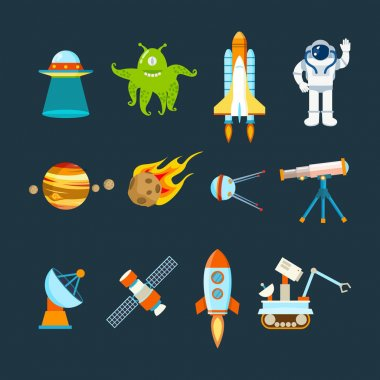 Space theme, transport, planets, objects, satellites, instruments for tracking cosmos.