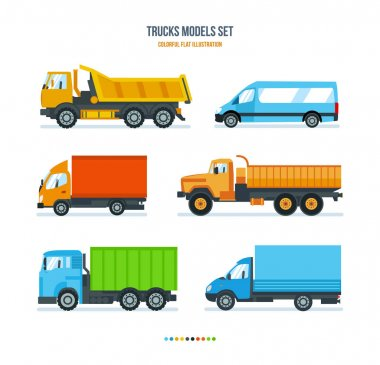 Trucks for transportation of goods, gazelle, car for transportation people.