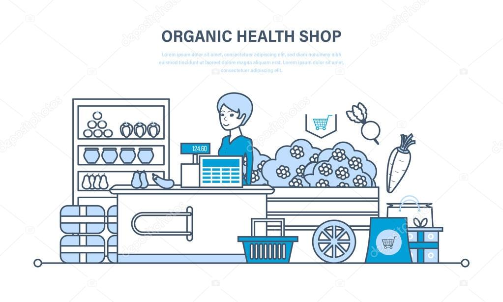 Cashier lays the goods on showcase, sells natural, organic products.