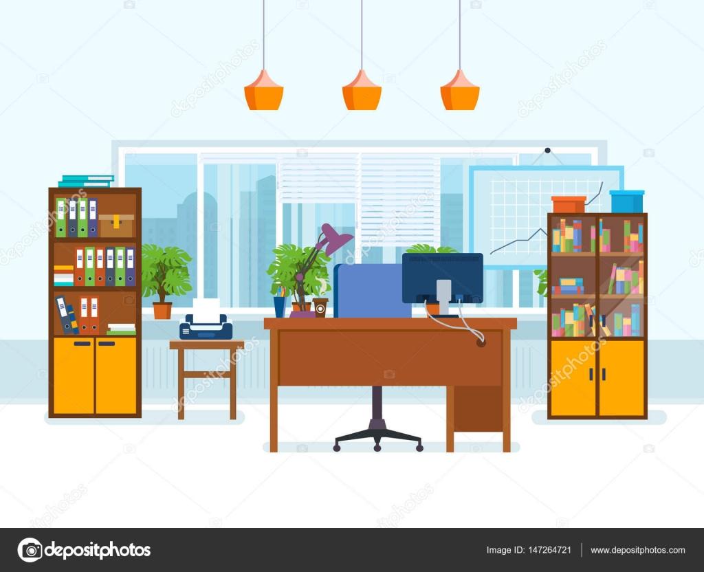 Interior de la oficina de la sala con muebles de trabajo for Interior oficina