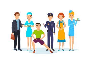Businessman, nurse, fitness trainer, police officer, hairdresser, girl with drinks.