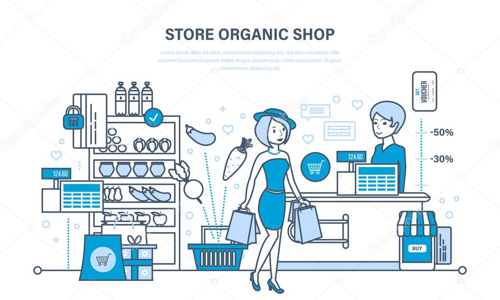 Shop organic products, counter with products, ordering and purchasing goods.