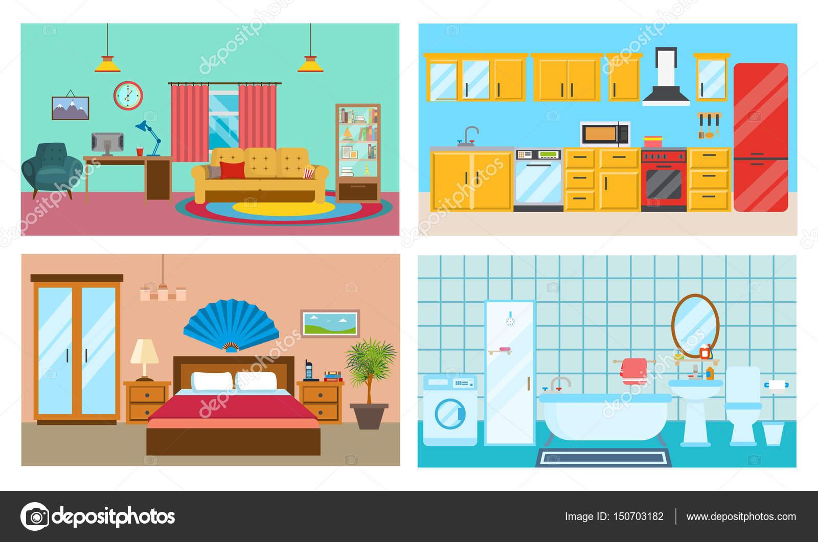 Moderne Einrichtung Der Zimmer: Wohnzimmer Mit Interieur Und Ausstattung,  Küche Mit Möbeln, Stilvollen Badezimmer Und Schlafzimmer.