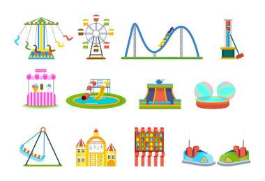 Amusement park for children with attractions and fun games.