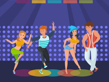 People relax at disco, dance modern moves on dance floor.