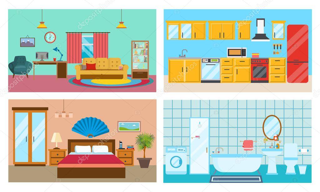 Cocina baño y dormitorio   Interior moderno de las ...