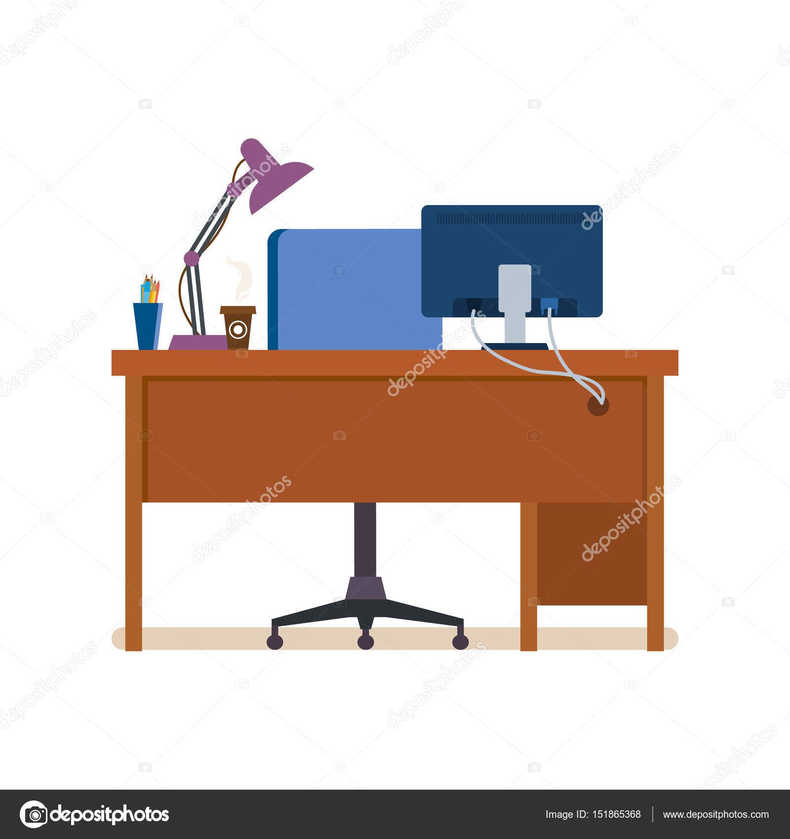 Interior de oficina lugar de trabajo de la sala con for Stock de muebles