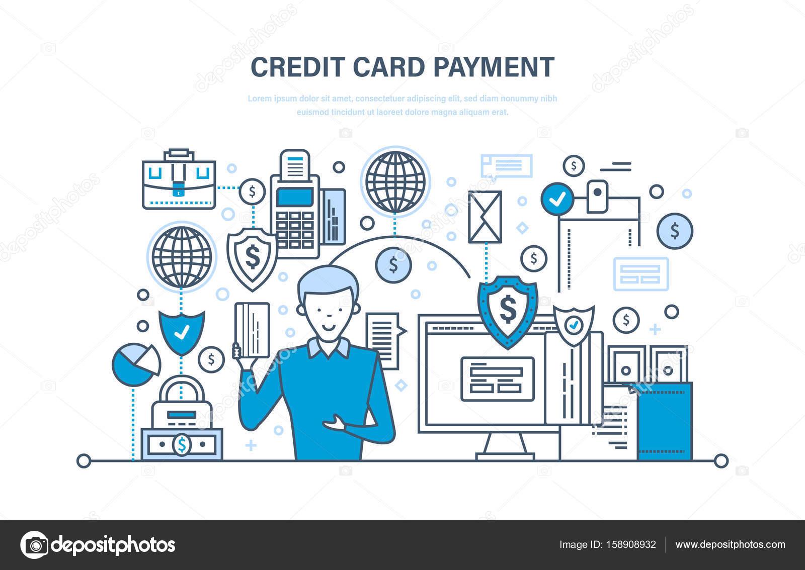5cba94aa25 Zahlung per Kreditkarte, sichere Transaktionen, Wirtschaft, Finanzen, Bank,  Banken, Einlagensicherung, Geldüberweisungen. Abbildung dünne Liniendesign  des ...