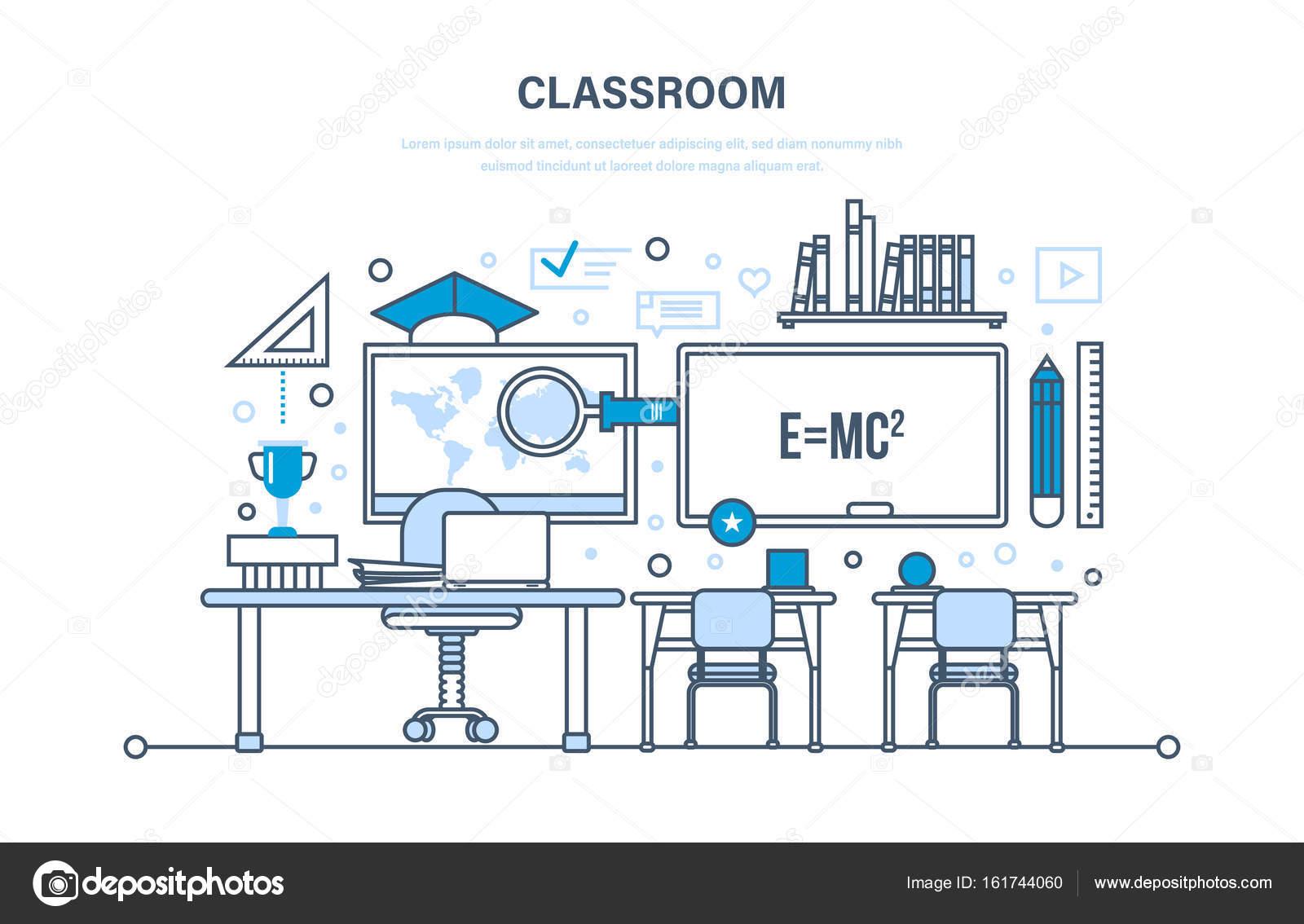 klas interieur van kamer modern systeem van onderwijs opleiding leren werkplek kennis onderwijs vaardigheden illustratie dunne lijn ontwerp van