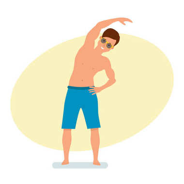 Surfer standing in shorts does exercises with slopes to side.