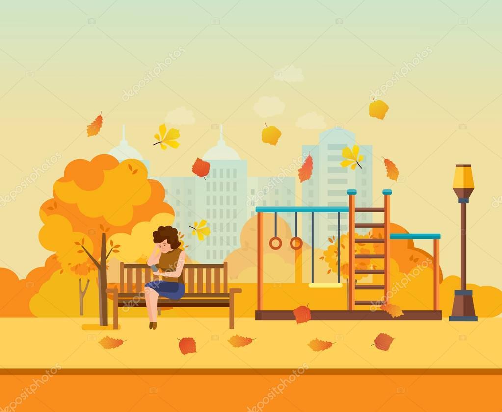 Autumn kids playground, girl resting in park.