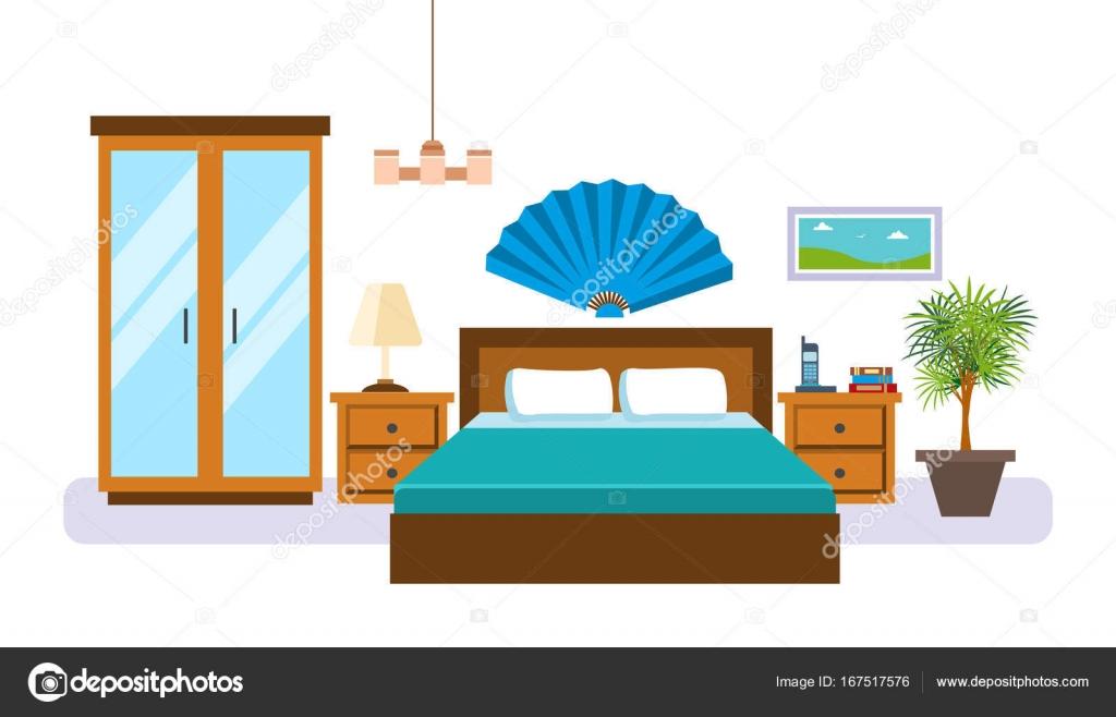 Innere des Schlafzimmer mit Möbel, Accessoires und ...
