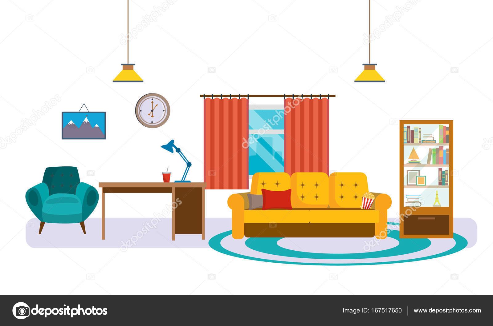 Interieur aus Wohnzimmer mit Möbeln, Accessoires und ...