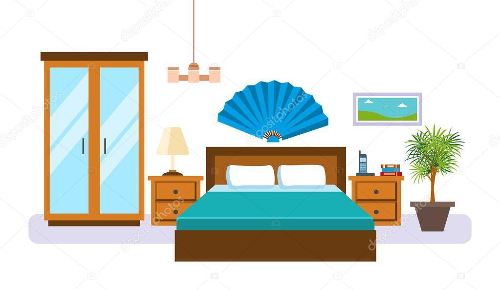 Interno della camera da letto con oggetti mobili accessori e tutti i giorni vettoriali stock - Accessori camera da letto ...
