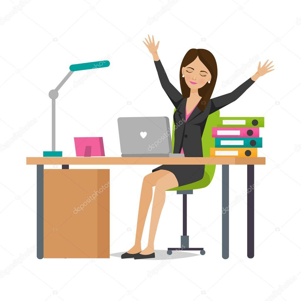 foto de Jeune fille d un employé de bureau se réjouit des succès