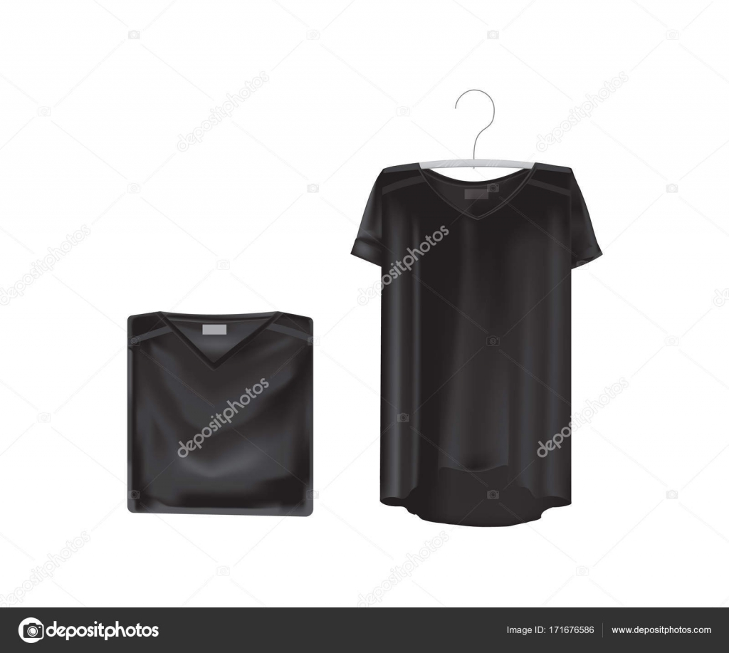 bab090a17eed47 Mockup of women s t-shirts - tunics. Womens short sleeve t-shirt. White  variant of template. Clothes in black colors. In general and in folded form.