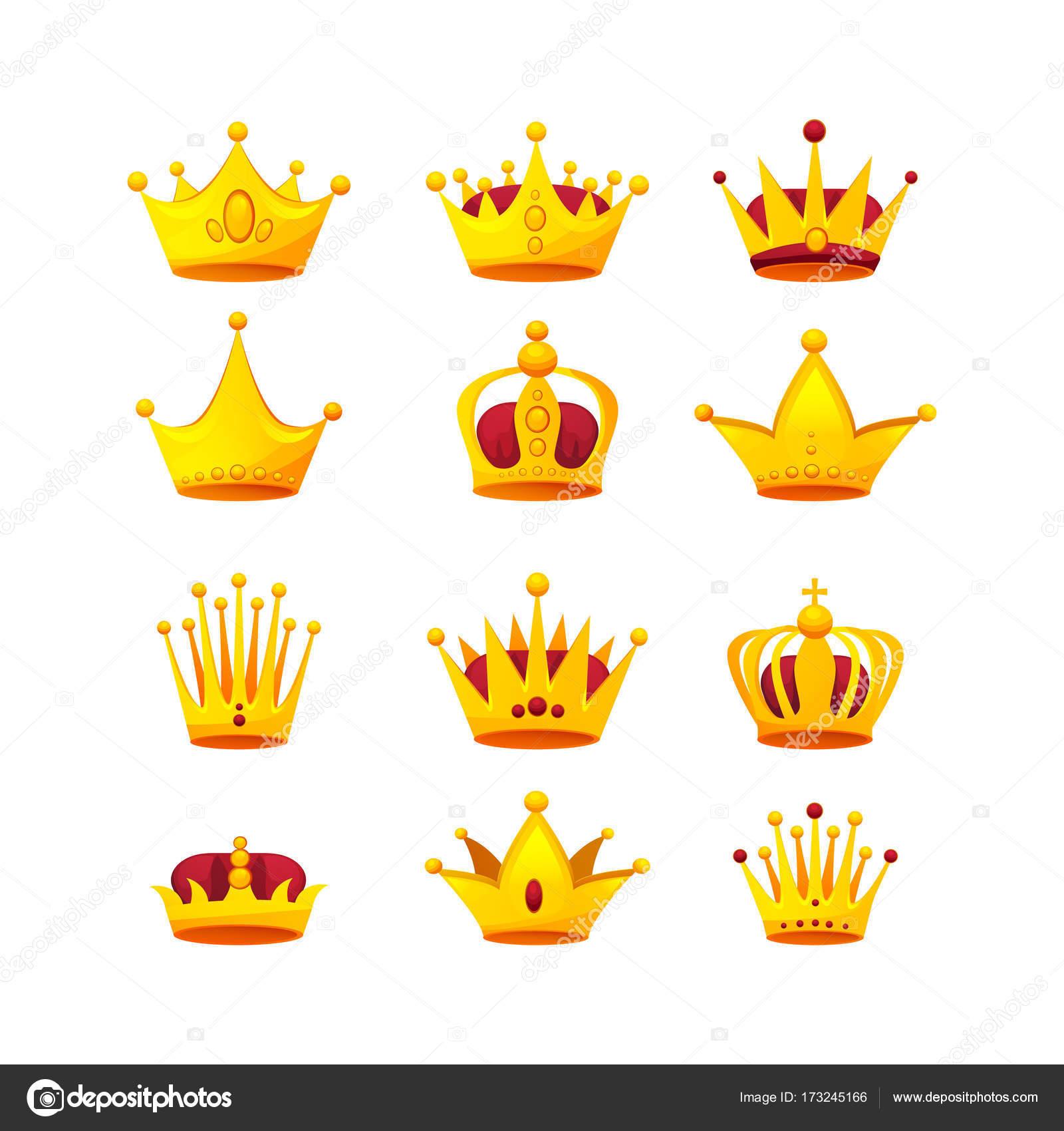 Conjunto De Diferentes Tipos De Coronas De Oro Hermosa Archivo