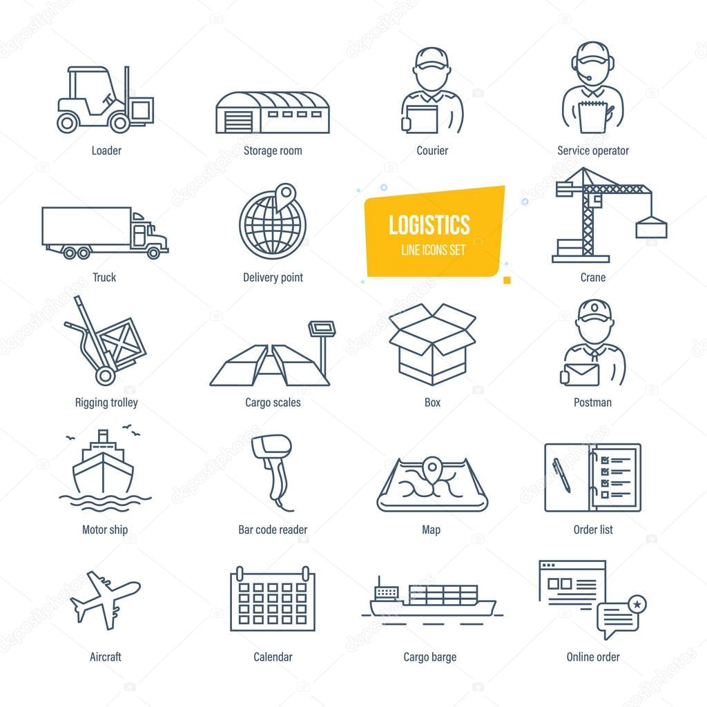 Logistics line icons set. Delivery, logistics. Packing, shipping, transportation, tracking.