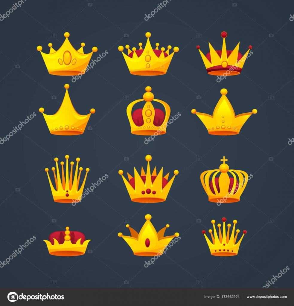 Conjunto De Diferentes Tipos De Coronas De Oro Precioso Lujo