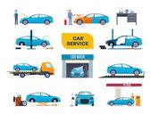 Fotografie Satz von Auto-Service. Auto Reparatur, Anlagen, waschen, färben