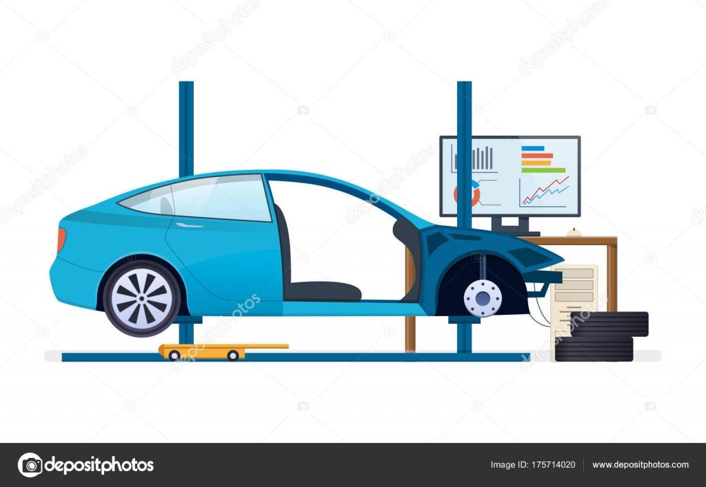 Kfz-Reparatur. Auto-Service. Ersatz von Reifen, Räder, Kfz ...