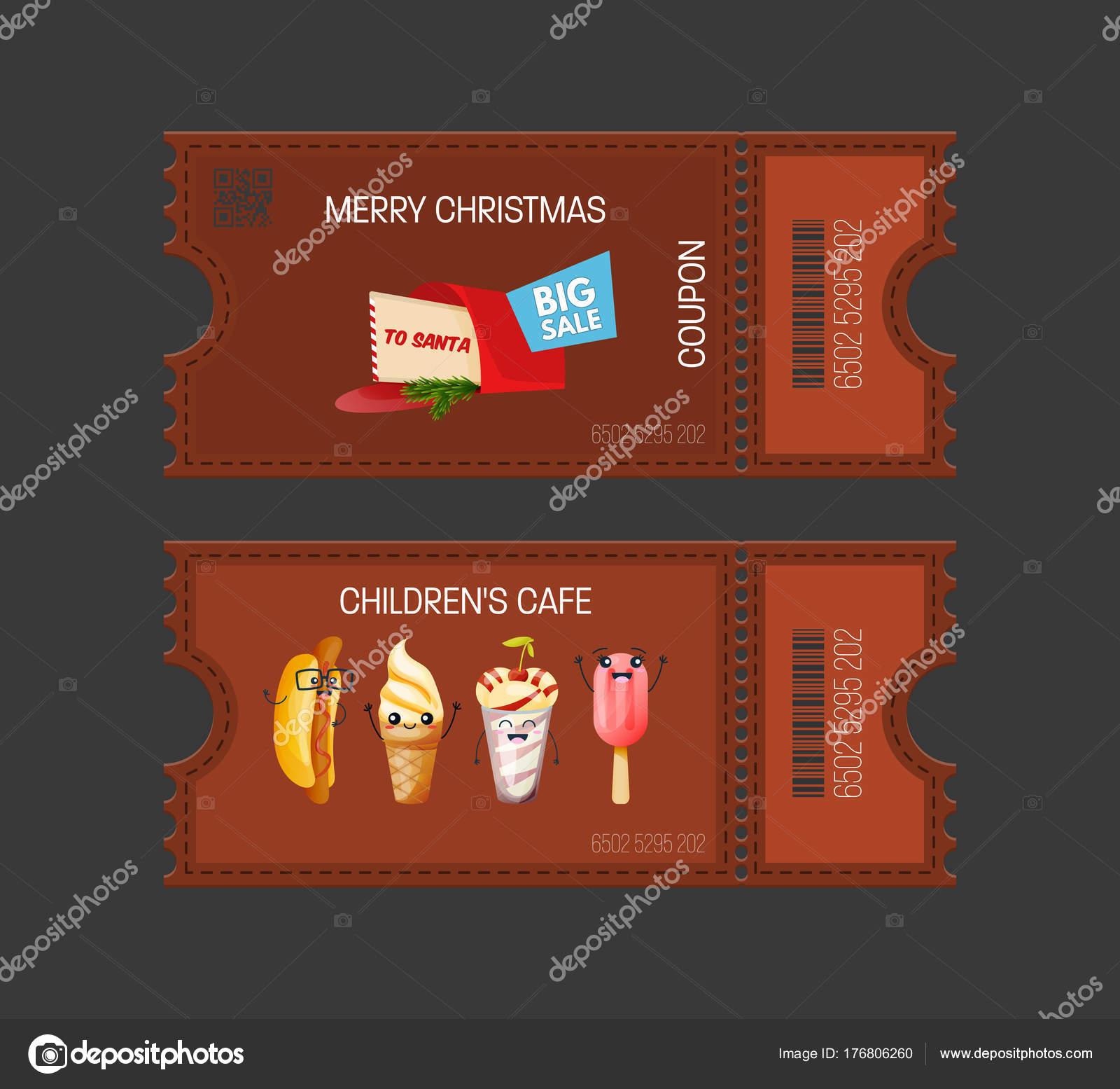 Feliz Navidad, concepto de café de s de los niños. Cupones de tortas ...
