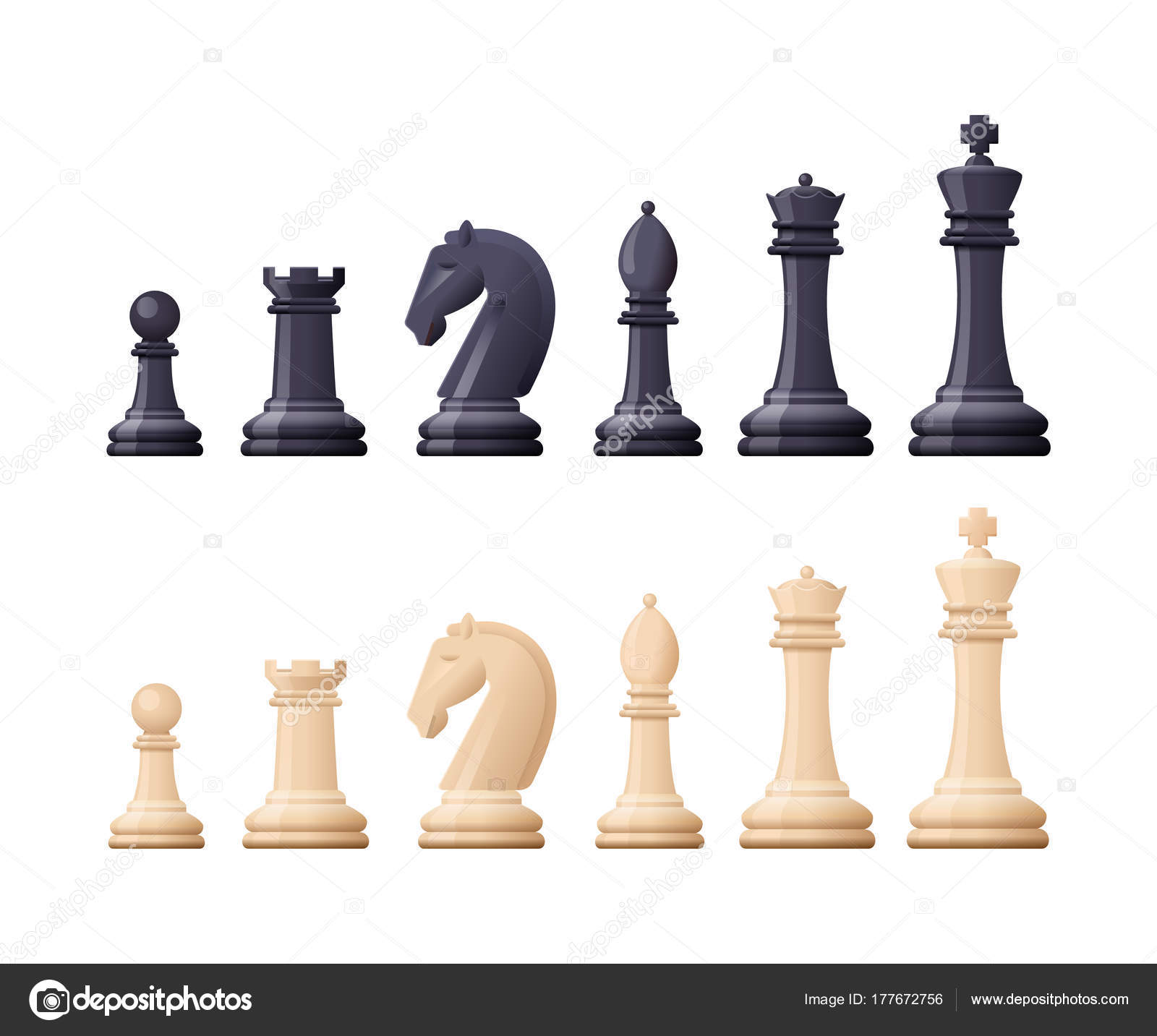Black White Chess Game Pieces Figures Logical Tactical Turn Based