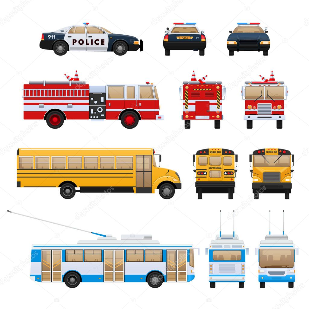 City cars, transport: fire service, school bus, rescue service, police.