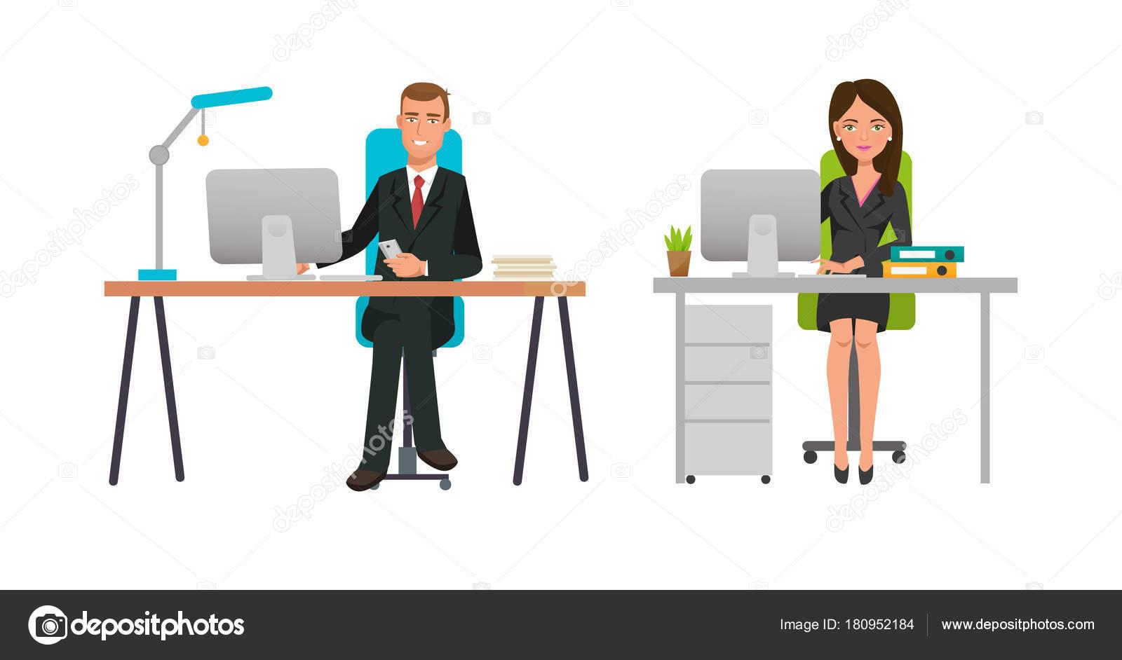 Geschäft Cartoon Charakter Berufstätige Im Büro Schrank. Büroangestellte,  Partner, Freut Sich über Erfolg, Arbeiten Hinter Schreibtisch Bürotisch.