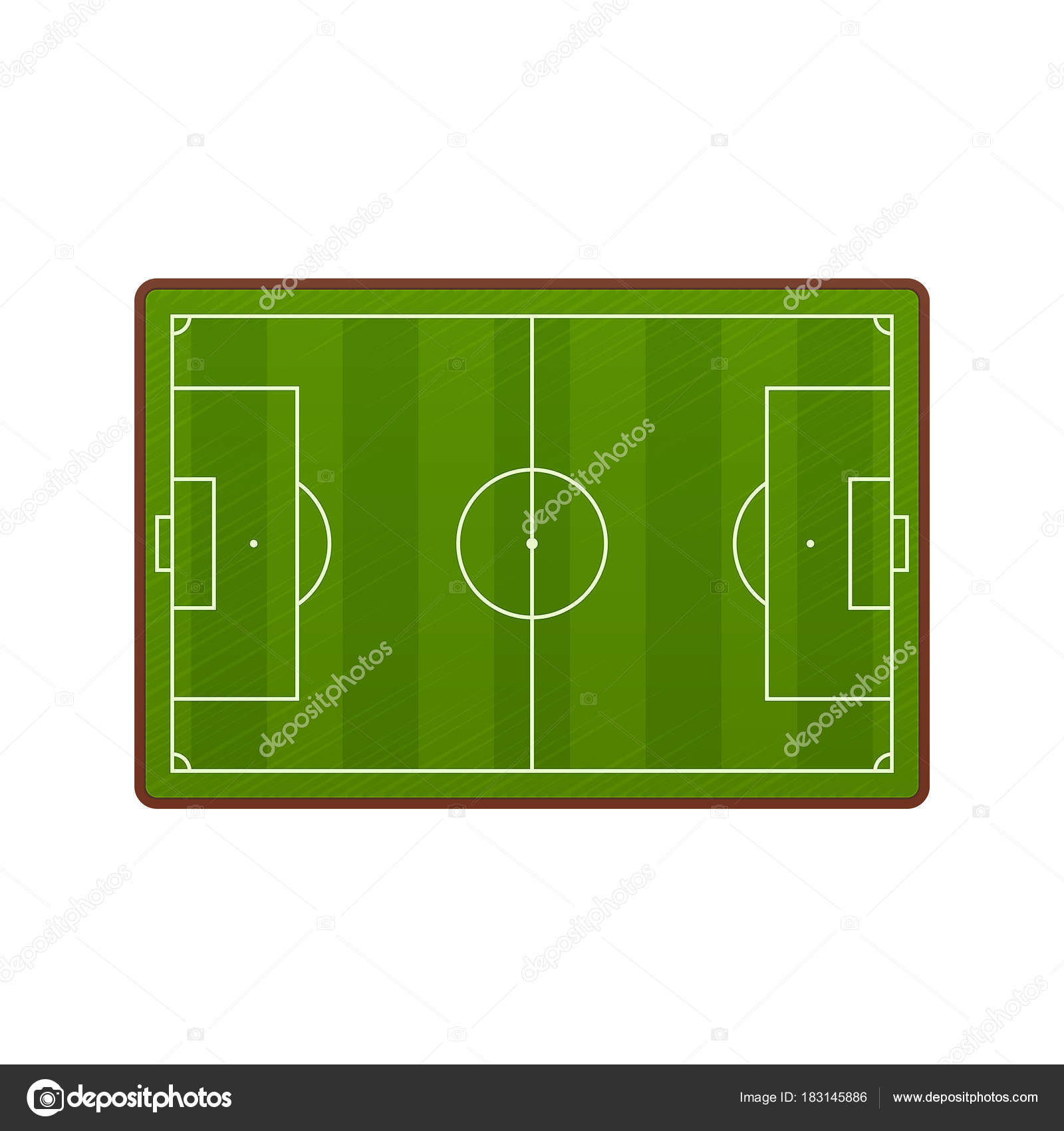Realistic Football Field Template Playground With Green Grass And
